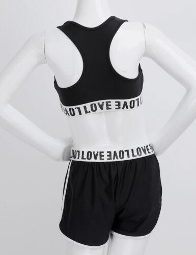 Sportkleidung Crop Tops Shorts Trainingsanzug Yoga Tanzen Kinder Mädchen 2tlg