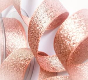 Rose-Gold-Ribbon-Berisfords-Metallic-Glitter-Copper-Sparkly-Lame-7-15-25-40mm