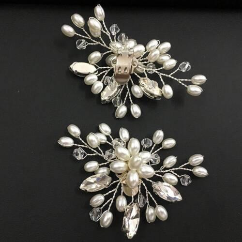 2x Silver Pearl Crystal Shoe Clips Decor Bridal Shoes Rhinestone Clip Buckle DIY