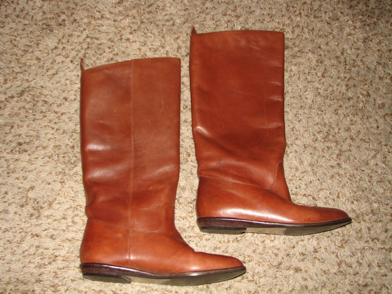 White Mountain Tall Fashion Boots Brown Leather Low Heel Sz 7.5