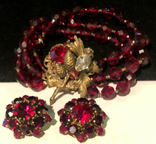 Miriam Haskell Set Rare Vintage Gilt Red Glass R/S