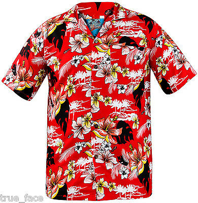 New Mens True Face Hawaiian Short Sleeve Beach Hula Top Loud Fancy Dress Shirt