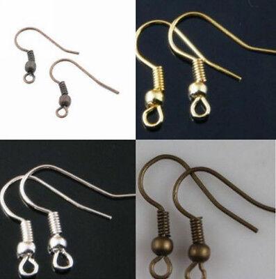 Wholesale 100Pcs Silver /Gold /Copper /Bronze Earring Hook Coil Ear Wire