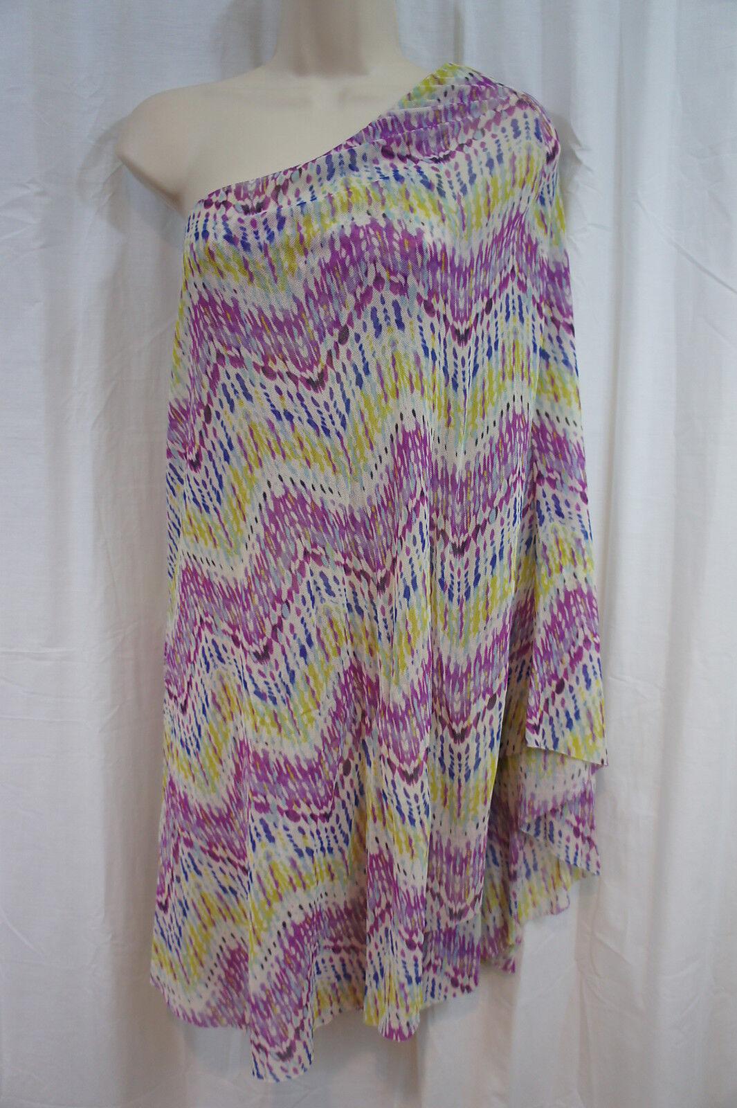 Sweet Pea By Stacy Frati Dress Sz XS Multi Farbe Zig Zag One Shoulder Dress