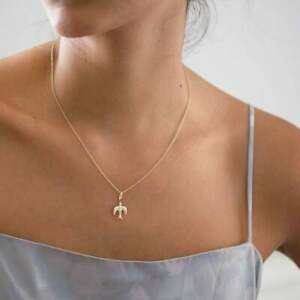 14K-Yellow-Gold-Peace-Dove-Pendant-Holy-Spirit-Charm-Necklace