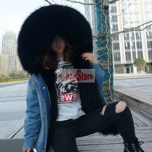 echte Womens wasbeer bontkraag en verwisselbare jas Hooded denim Parka voering jas qUxxwaHR