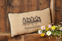 Networking Pillow Birds Complete Primitive French Country Cotton Throw Black