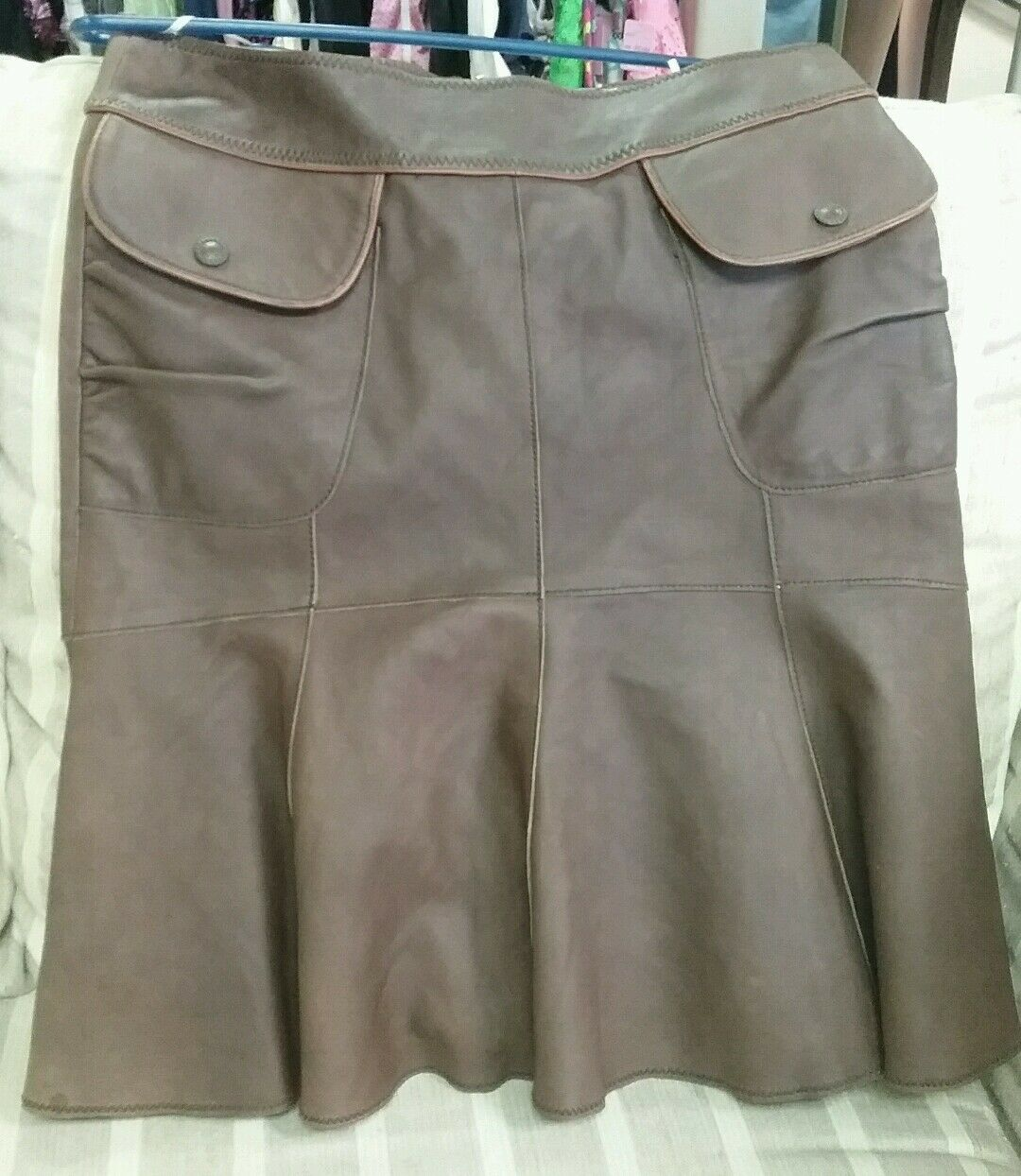 Anthropologie Leather Skirt. Chocolate Brown. New with tags.