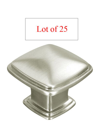 25 PC Satin Nickel or Brushed Kitchen Cabinet Square Knobs Pulls 31MM  free ship