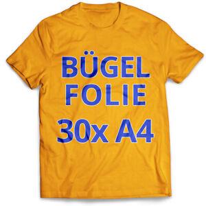 30-Blatt-DIN-A4-T-Shirt-Transferfolie-Buegelfolie-Folie-fuer-helle-Stoffe
