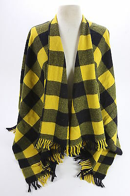 Mondi Made In Italy Wool Checked Shawl Wrap Navy Blue & Maize Yellow Vintage