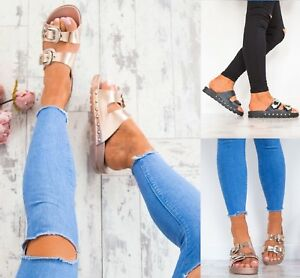 LADIES-WOMENS-STUDDED-BUCKLE-SLIP-ON-MULE-SUMMER-SLIDERS-SANDALS-SHOES-SIZE-3-8