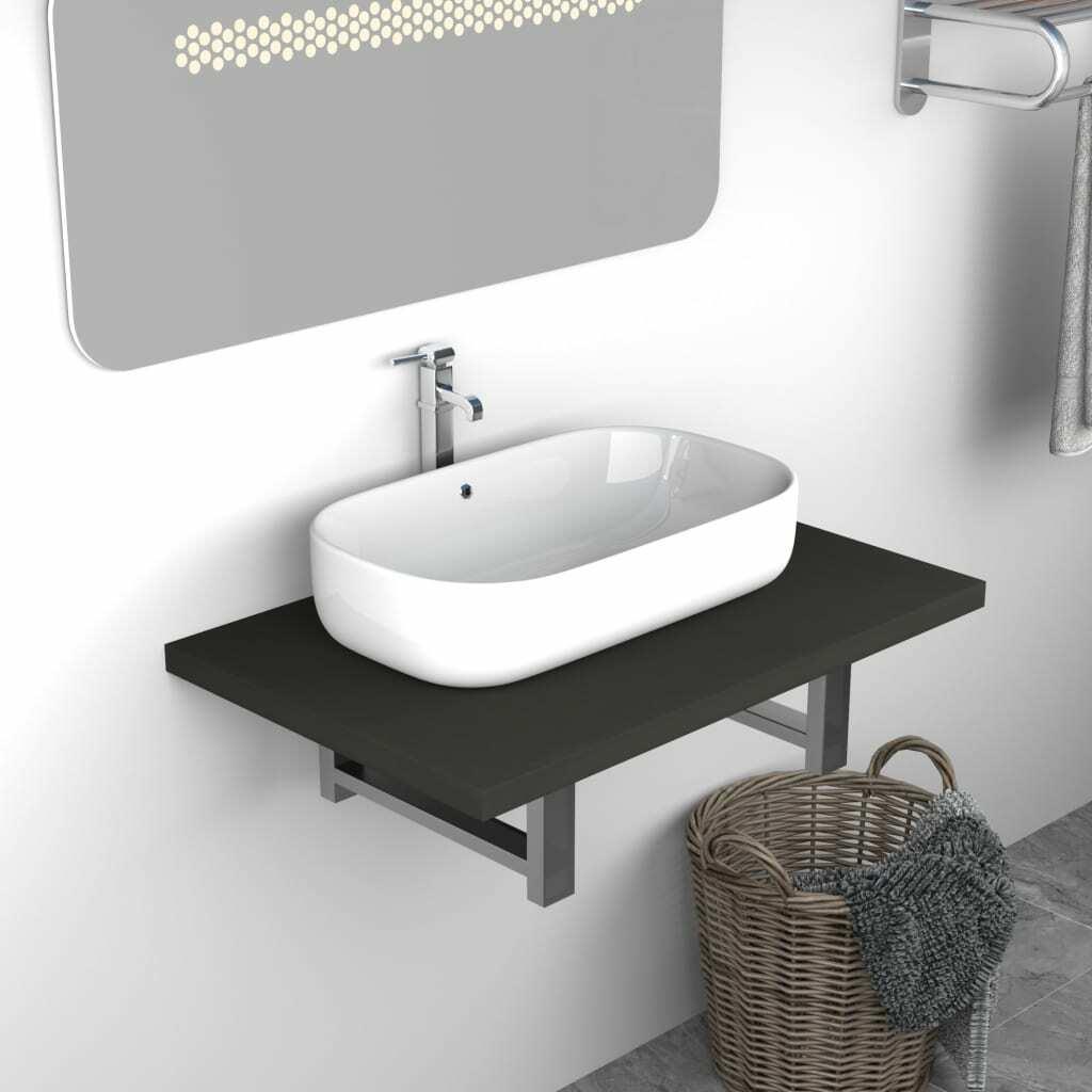 vidaXL Mueble Cuarto de Baño Estante de Pared Lavabo Color Gris Mobiliario