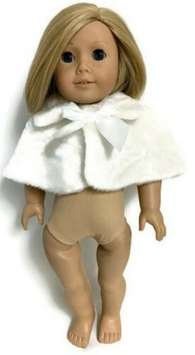 Lined White Fur Caplet with Bow made for 18 inch American Girl Doll Clothes
