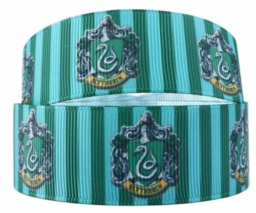 "Slytherin House Crest 1/"" Wide Repeat Ribbon Sold in Yard Lots"