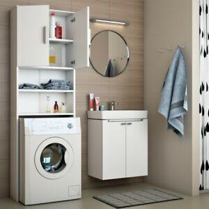 Dettagli su Armadio alto per lavatrice mobile per il bagno Mobile sopra  toilette 190x60cm