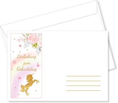 Briefumschläge DIN C6 Einhorn Rosa Umschlag Kuvert mit Druck Mädchen