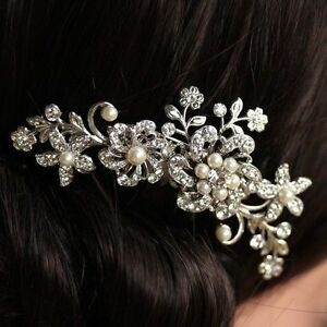 Silver-Wedding-Bridal-Headpiece-Pearl-Hair-Comb-Clip-Diamante-Rhinestone-Crystal