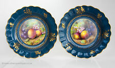 A Pair of Royal Worcester Dessert Plates Signed Henry Martin c 1912