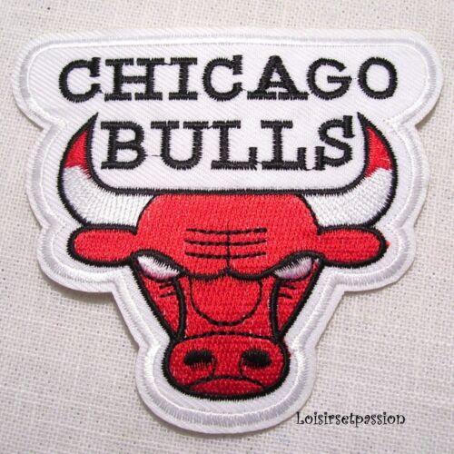 9 x 8 cm ÉCUSSON APPLIQUE PATCH thermocollant,TAUREAU CHICAGO BULLS BLANC