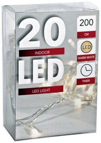 LED Lichterkette Batterie mit Timer warmweiß 10 20 50 100 batteriebetrieben