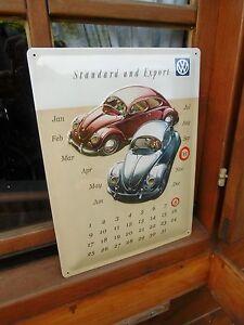 VW VOLKSWAGEN Beetle Bug Split Perpetual Wall Calendar Sign Made in Germany OOP
