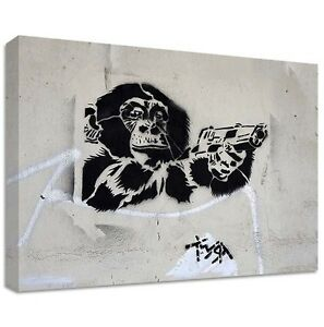 T.wat Chimpanzé Toile Grand Sticker Street Graffiti Armes À Feu Twat Singe