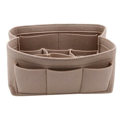 Details about  /New Felt Fabric Purse Handbag Organizer Bag in Bag MultiPocket Insert Bag Shan