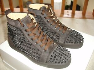 c102d665f9f CHRISTIAN LOUBOUTIN LOUIS ORLATO FLAT SPIKES Brown Suede Sneakers Sz ...