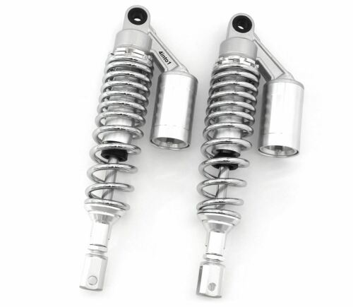 Silver /& Chrome Remote Reservoir Shocks 320-330mm for Honda Eye To Clevis