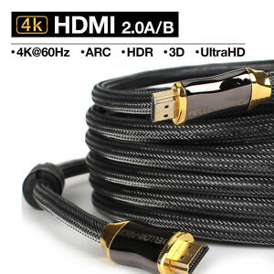 Gold-Braided-Ultra-HD-HDMI-Cable-V2-0-High-Speed-2160P-4K-3D-15FT-25FT-30FT-50FT