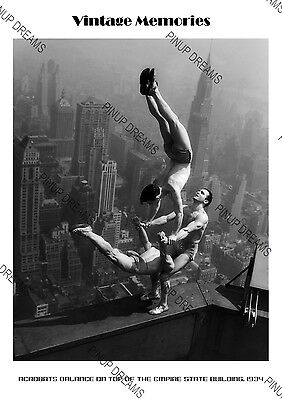 1934 Iconic Image Print Acrobats balance on top of the Empire State Building