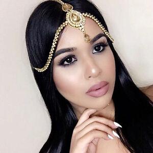 Gold Clear Glass Diamond Head Chain Hair Jewelry Head Piece