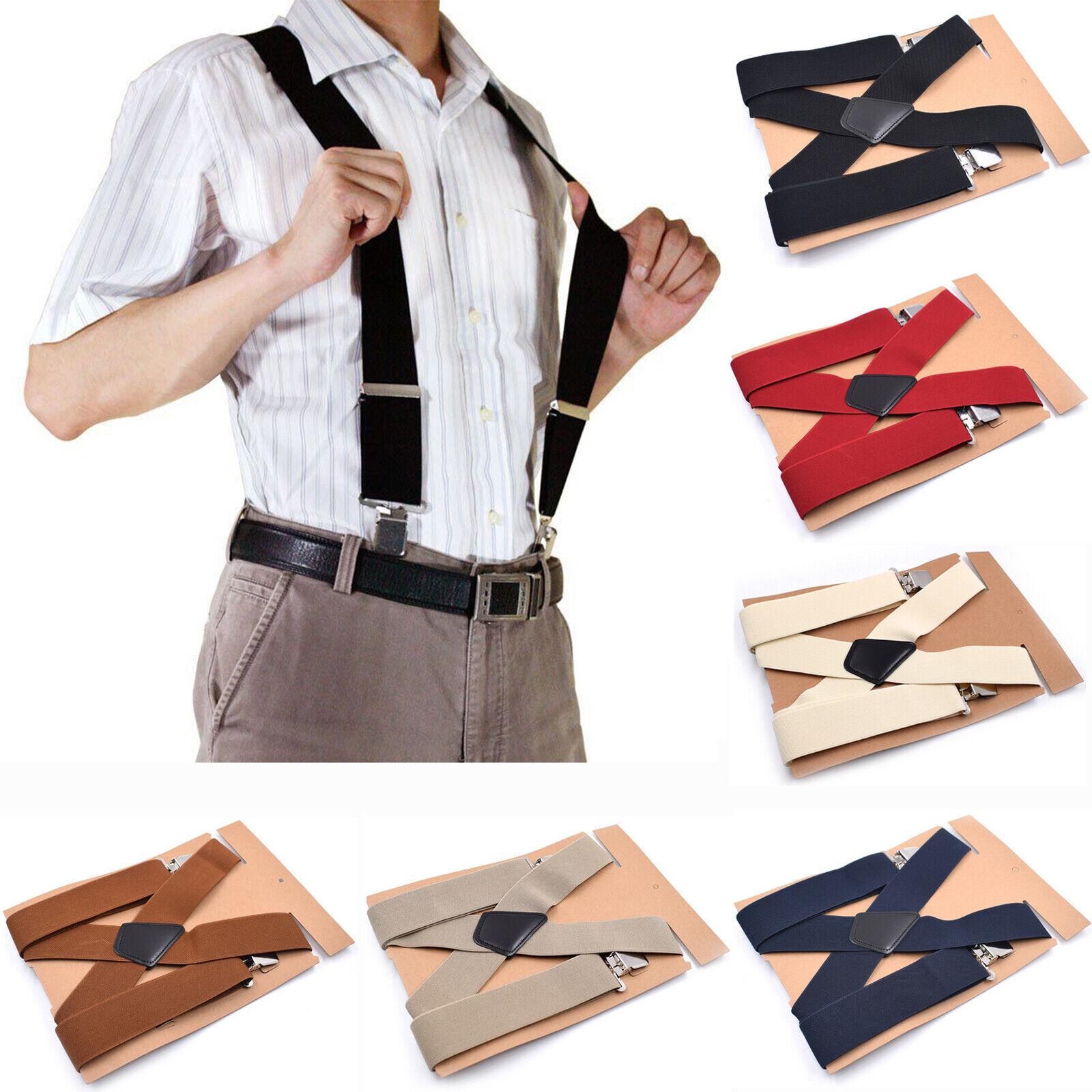 UK Men's Ladies 50mm Wide Braces Plain Heavy Duty Suspender Elastic Adjustable
