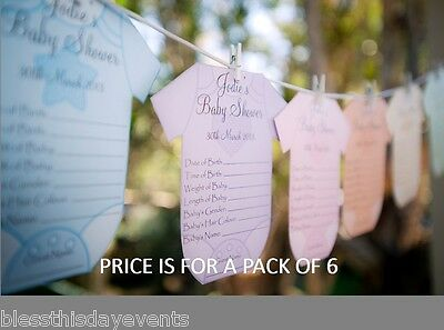 Baby Shower Game - Baby Prediction Card Clothesline - MEDIUM size - Pack of 6