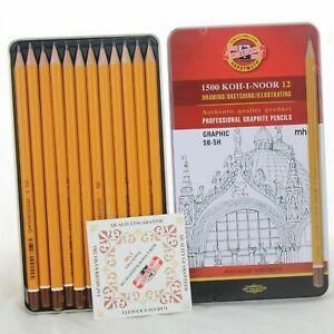 8B a 2H Koh-i-Noor Grafito Suave Lápices Artista Dibujo Dibujo 12 Estaño Set