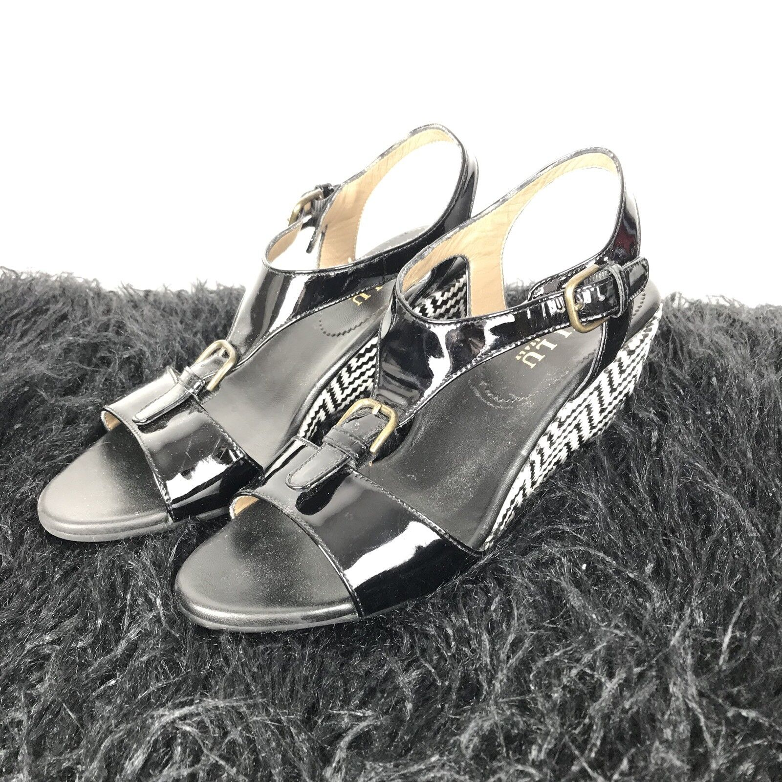 Anyi Lu Womens Wedge Sandals Size 38 Woven Pattern Black Patent Leather Buckle