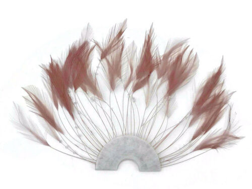 1 Piece Taupe Half Beaded Pinwheel Stripped Rooster Hackle Feather Pads Costume