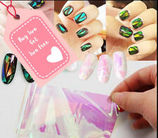 Nail Art Wrap Foils Nails Wraps Transfer Glitter Shattered Glass UK Seller