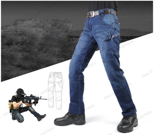 Hot Men/'s Denim Tactical Pants Trousers Jeans Outdoor Sports Travel Flexible New