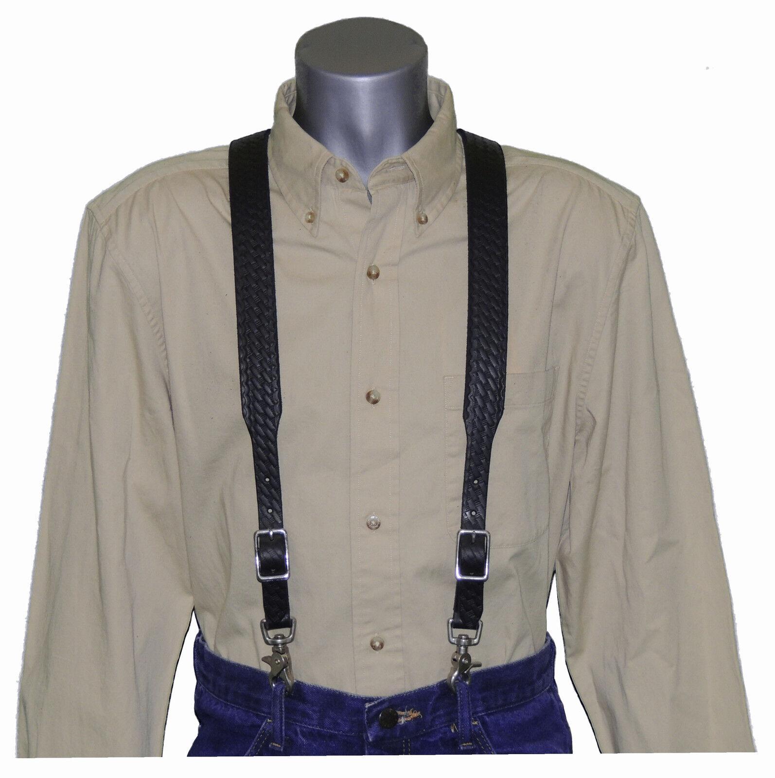 Black Basket Weave Leather Suspenders with trigger scissor snaps no slip