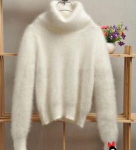 100 en angora Pull roulé vison avec blanc laine col col cachemire roulé et TUnXYqf