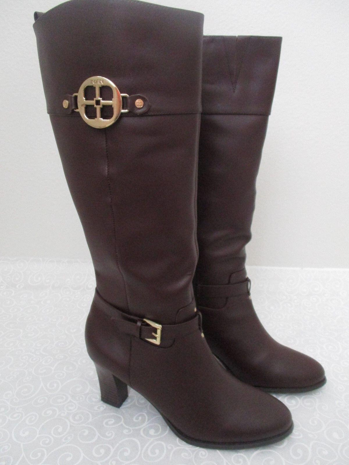 CUERO IMAN marrón chocolate la rodilla botas altas M-Nuevo