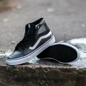f8296a22e2376 Vans Unisex Sk-8Hi Slim Cutout (Mesh) Skate Shoes BLACK WHITE MENS 4 ...