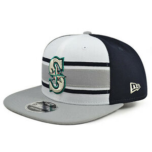 Seattle Mariners New Era THROWBACK STRIPE 2 Snapback 9Fifty MLB Hat ... 80963ae81d60