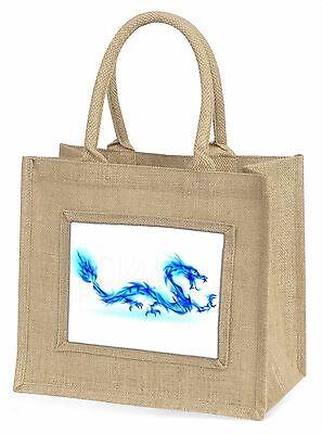 Blaue Flamme Dragon Große Natürliche Jute-einkaufstasche Weihnachten , DRAG-4BLN