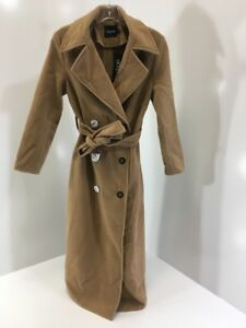 BOOHOO-WOMENS-BROOKE-DOUBLE-BREASTED-WOOL-LOOK-ROBE-DUSTER-CAMEL-SMALL-NWT