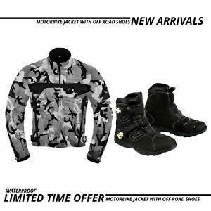 Motorbike-Cordura-Textile-Jacket-Waterproof-Leather-Racing-Shoes-Motorcycle-Boot