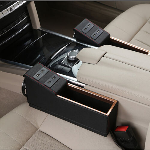 2X Black PU Car Seat Storage Box Catcher Gap Filler Cup Holder With USB Charger