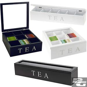 Teekiste-6-o-9-Faecher-Teebox-Teekasten-Teebeutelkiste-Teebeutelbox-Teebox